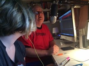 Fiona and her Dad doing a podcast. She's a typical teen in that she didn't want her picture taken. This is the compromise.
